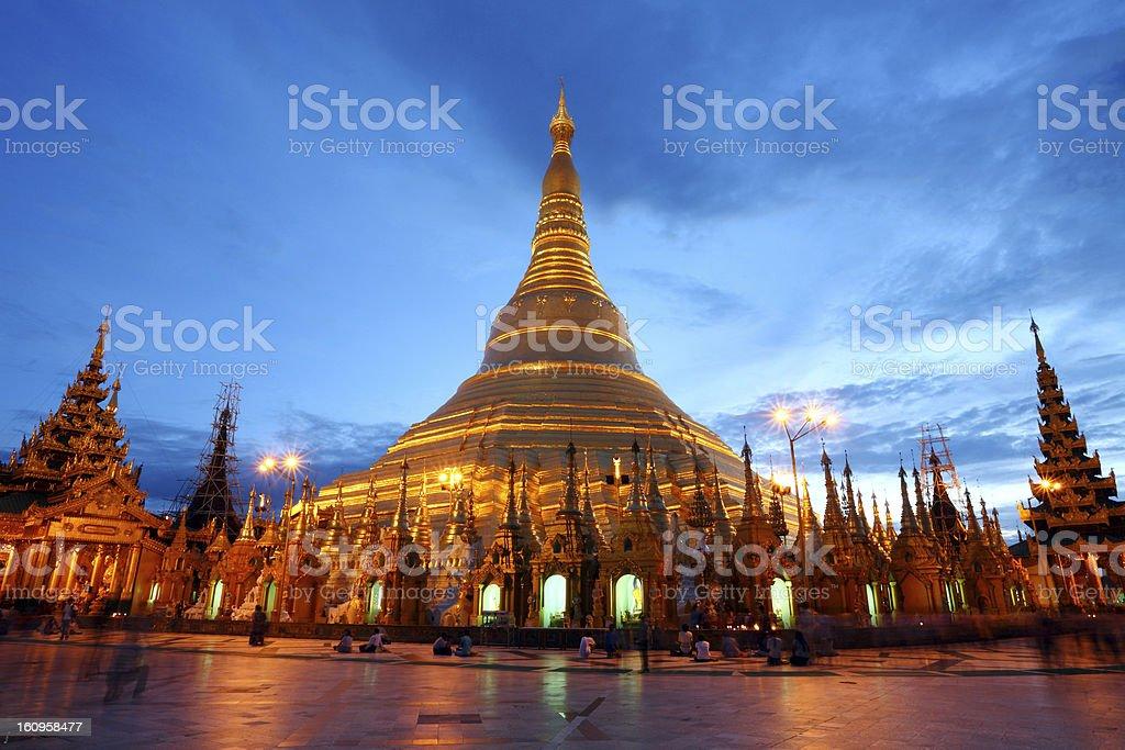 Shwedagon Pagoda in twilight royalty-free stock photo
