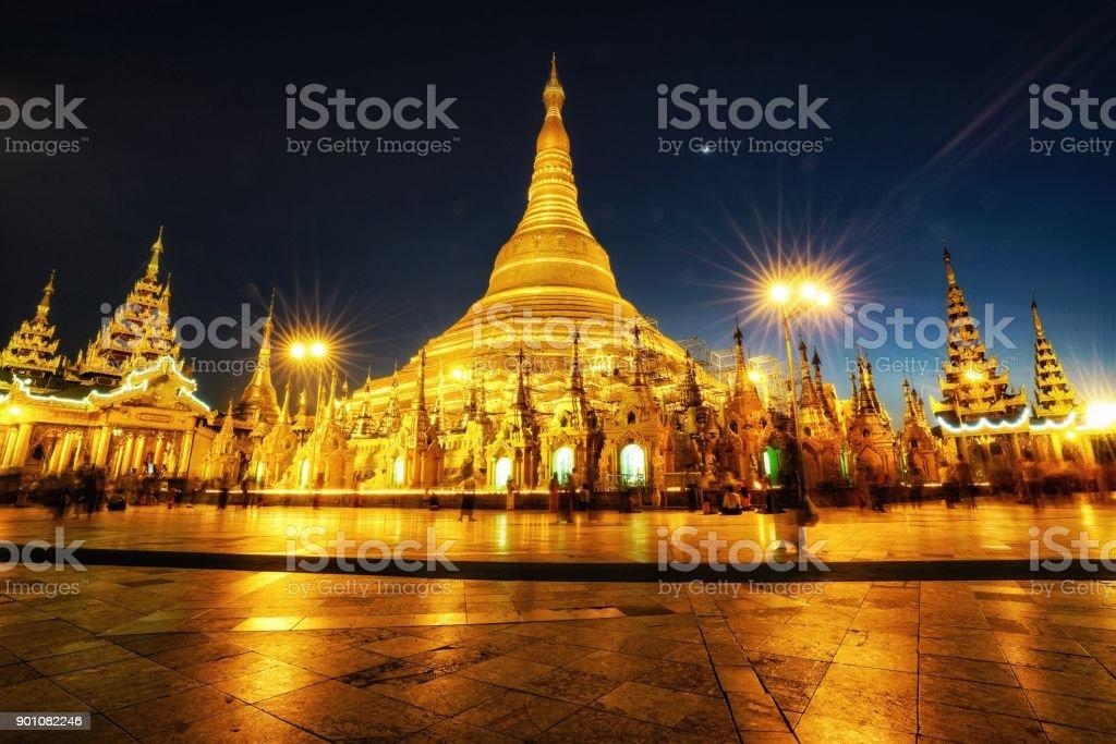 Shwedagon Pagoda in Yangon at night stock photo
