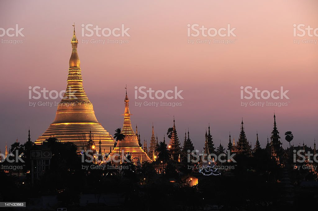Shwedagon Pagoda in Yangon City, Burma with Beautiful Evening Light stock photo