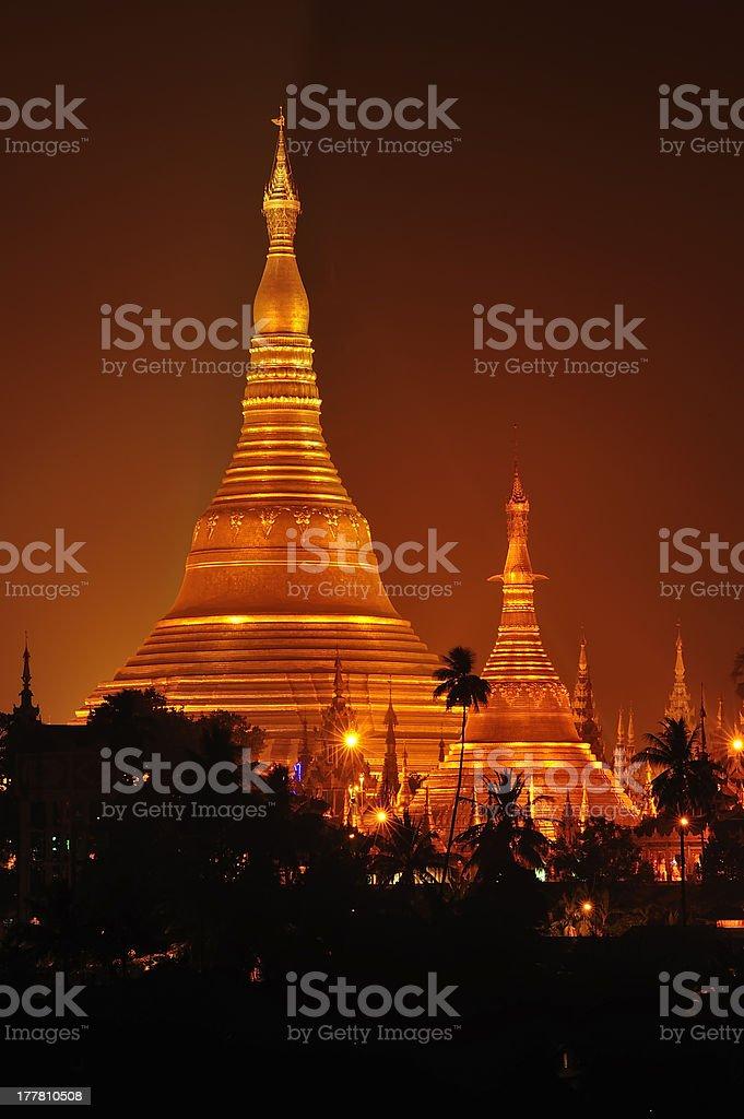 Shwedagon Pagoda in Yangon City, Burma with Beautiful Evening Light royalty-free stock photo