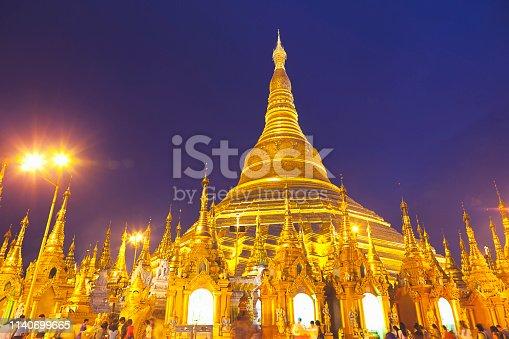 Shwedagon Pagoda at night in Yangon, Myanmar.
