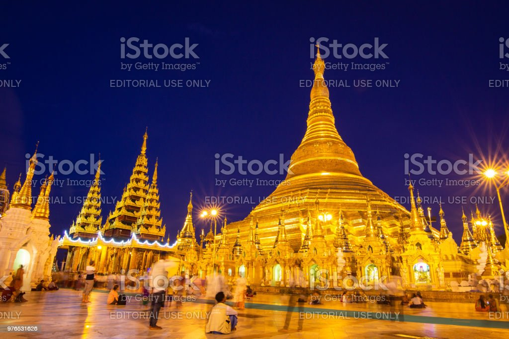 Shwedagon Pagoda in Yangon, Myanmar stock photo