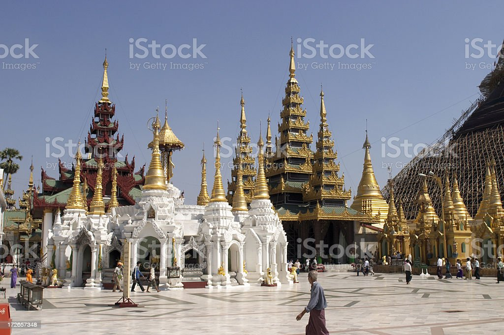 Shwedagon Pagoda Surroundings royalty-free stock photo