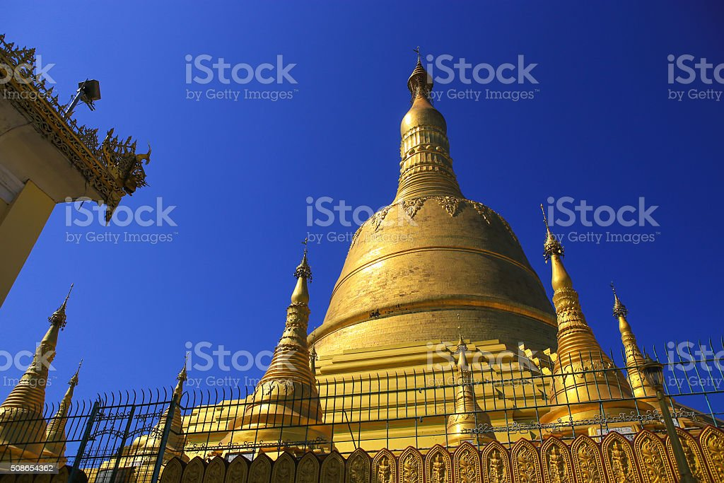 Shwemawdaw pagoda, the tallest pagoda and beautiful in Bago, Myanmar stock photo