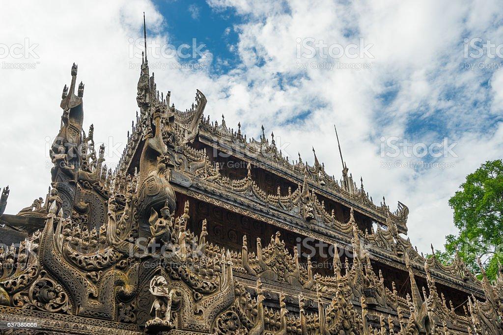 Shwenandaw Kyaung Temple or Golden Monastery, Mandalay, Myanmar stock photo