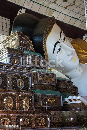 The 10th century reclining giant Buddha statue at Shwethalyaung, in the city of Bago, Myanmar