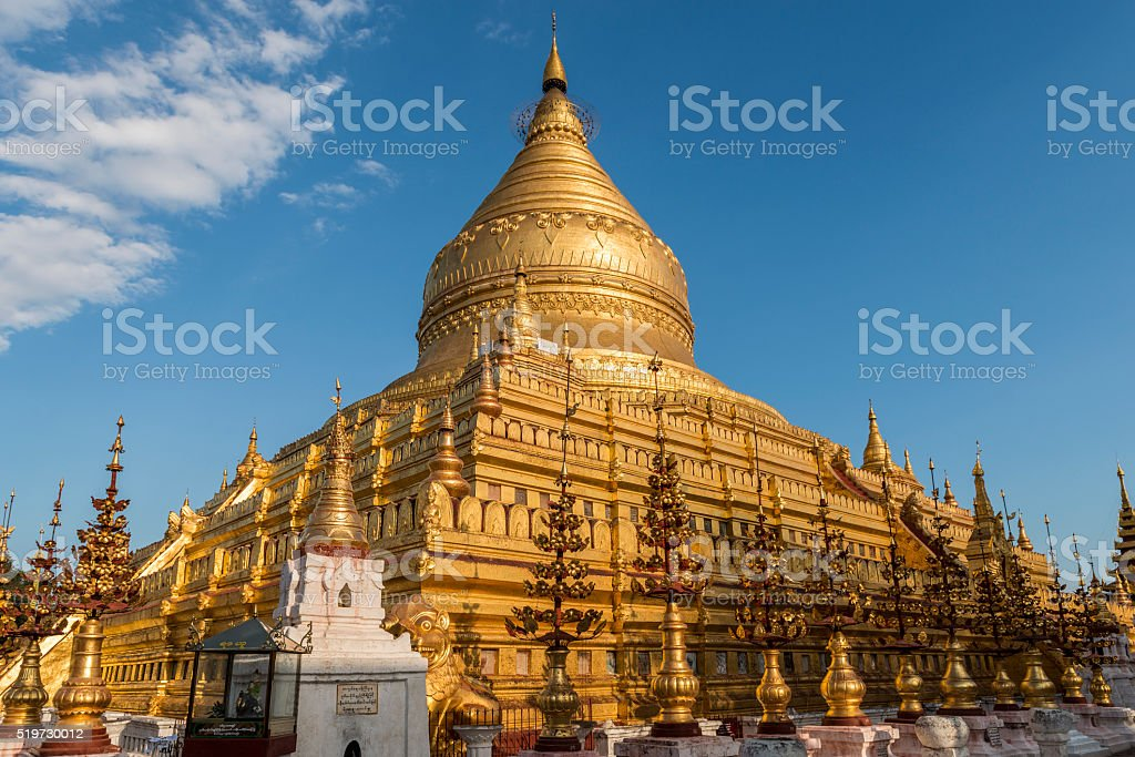 Shwezigon Pagoda at Dusk, Nyaung U, Bagan, Myanmar stock photo