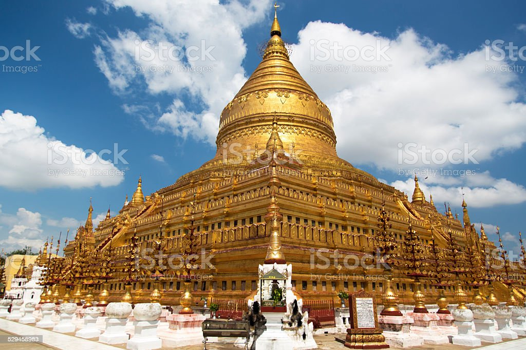 Shwezigon Pagoda , Bagan in Myanmar stock photo