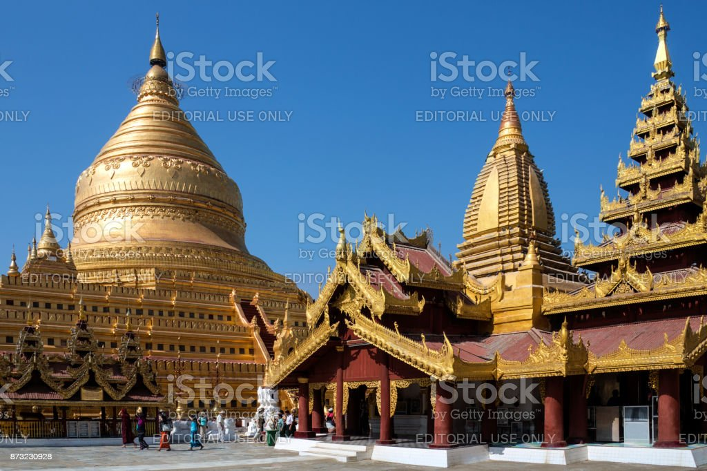 Shwezigon Pagoda - Bagan in Myanmar (Burma) stock photo