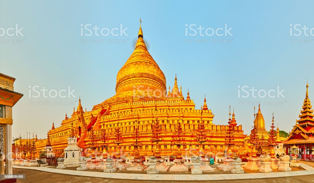 Shwezigon pagoda in Bagan. Myanmar. Panorama stock photo