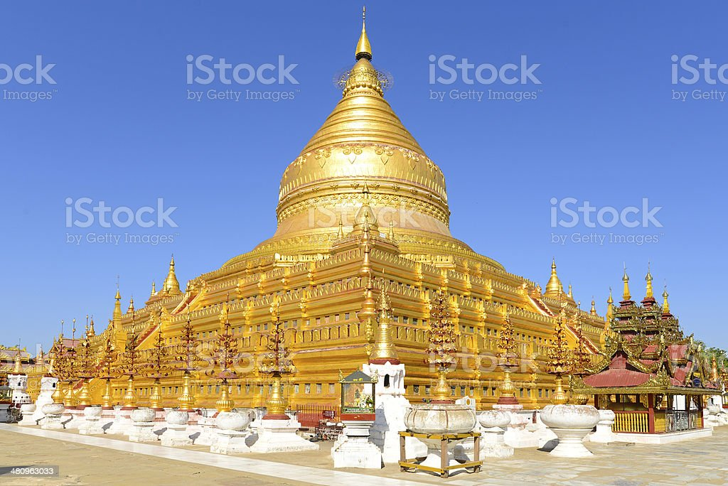 Shwezigon Pagoda in Bagan stock photo