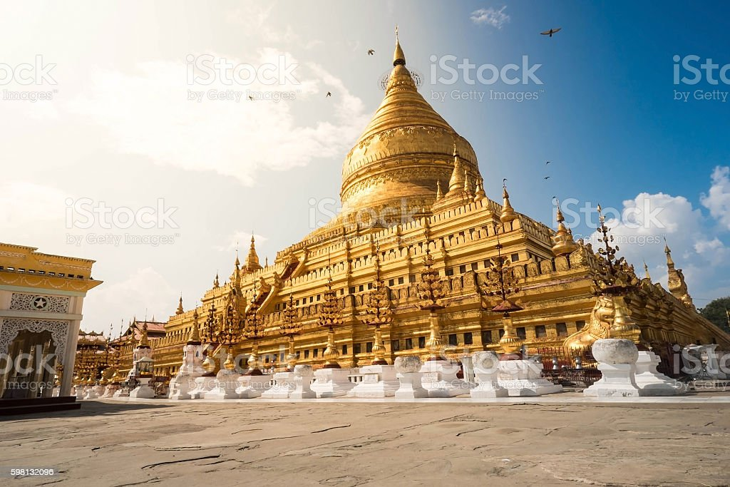 Shwezigon Pagoda in Myanmar stock photo