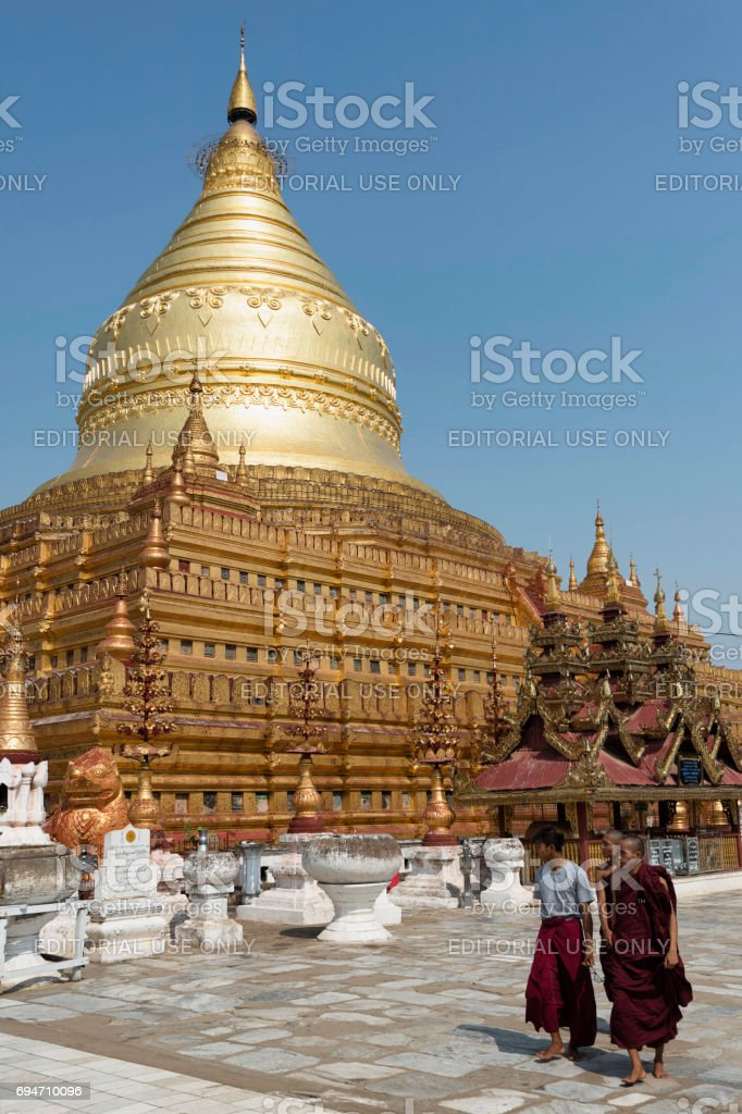Shwezigon Pagoda, the first pagoda of Bagan Kingdom, Myanmar stock photo