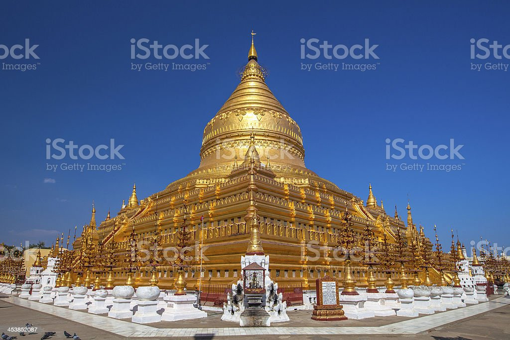 Shwezigon Paya, Bagan, Myanmar. stock photo