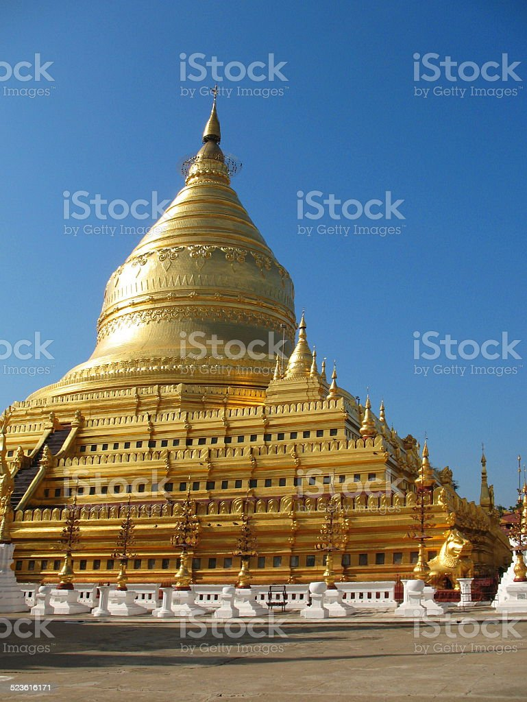 Shwezigon Paya in Bagan, Myanmar stock photo