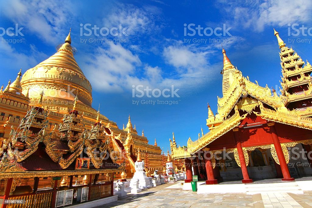 Shwezigon Paya temple , Bagan, Myanmar. stock photo