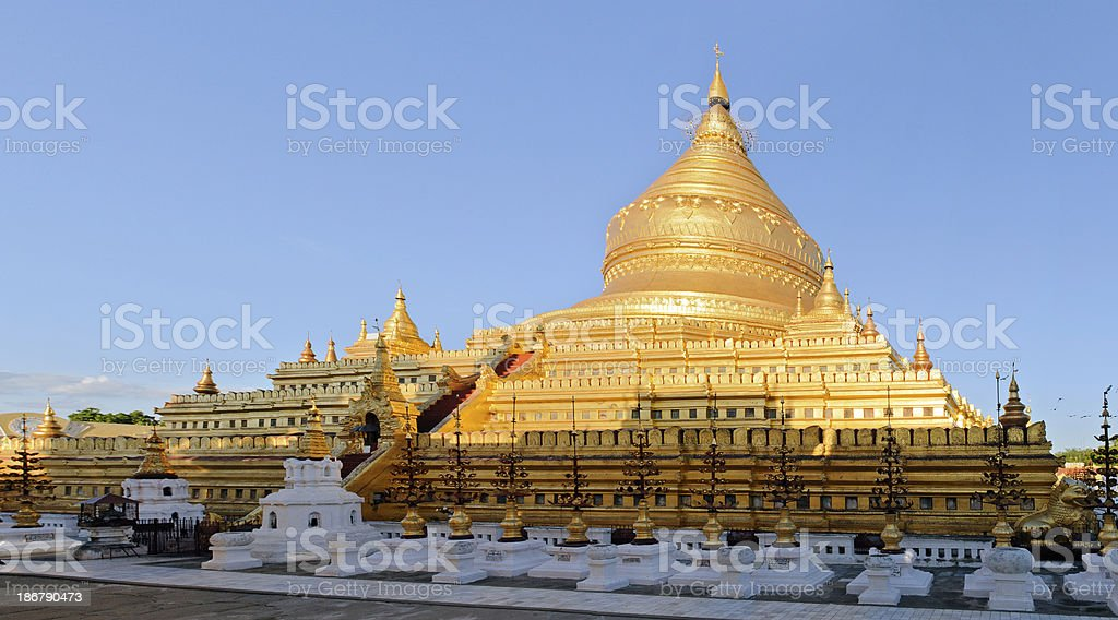 Shwezigon Paya Temple in Bagan Burma royalty-free stock photo