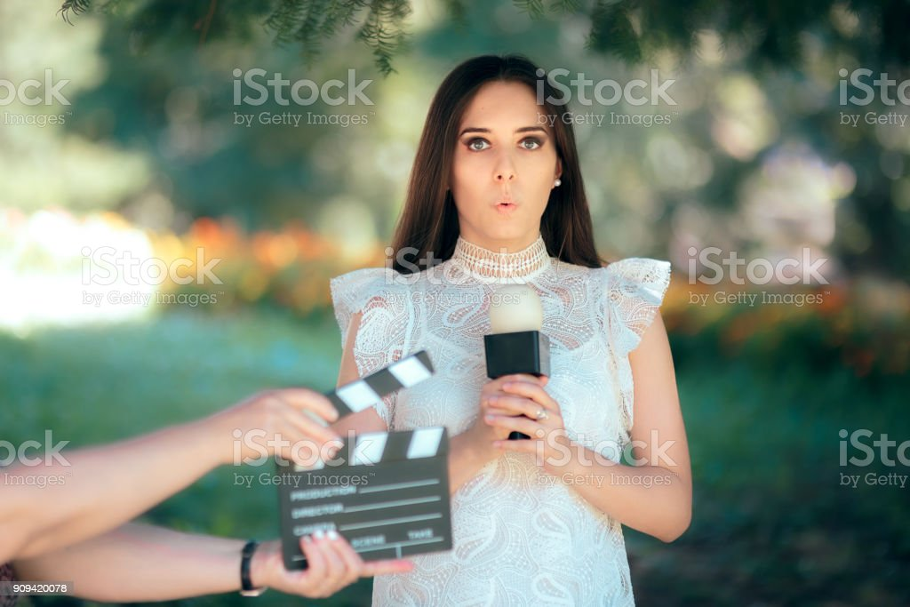 Shy Actress Auditioning for Movie Film Video Casting stock photo
