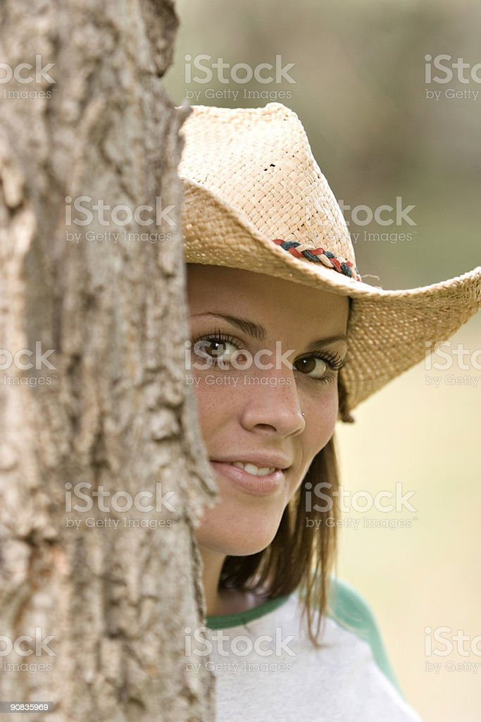 Shy cowgirl royalty-free stock photo