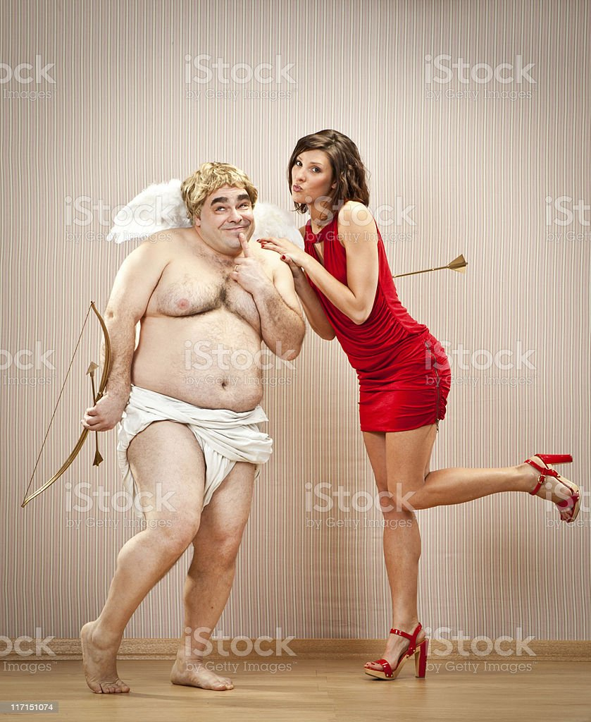 shy cupid fall in love with beautiful girl stock photo