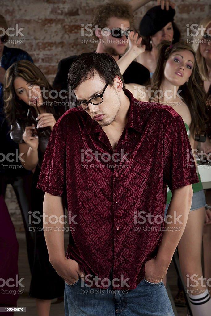 Shy guy stock photo