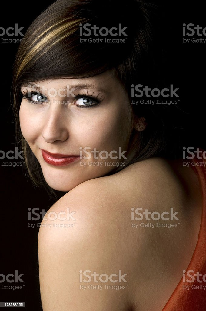 Shy lady in red royalty-free stock photo