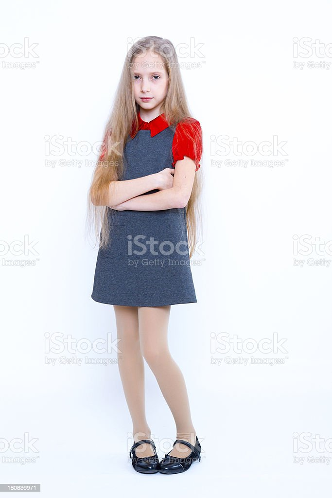 shy little girl on white stock photo