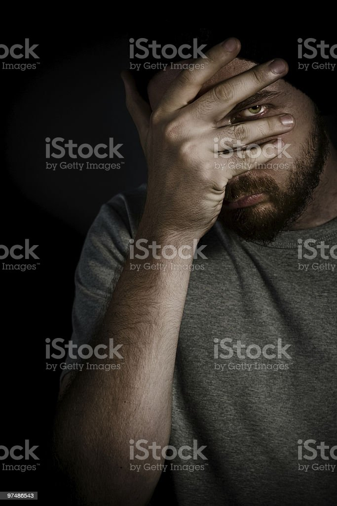 Shy mysterious man royalty-free stock photo