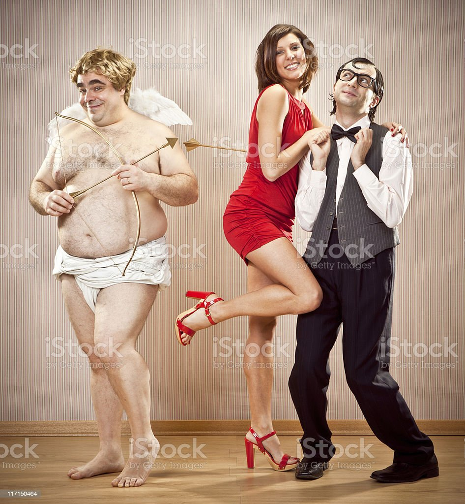 shy nerd found love with cupid help for Valentine Day stock photo