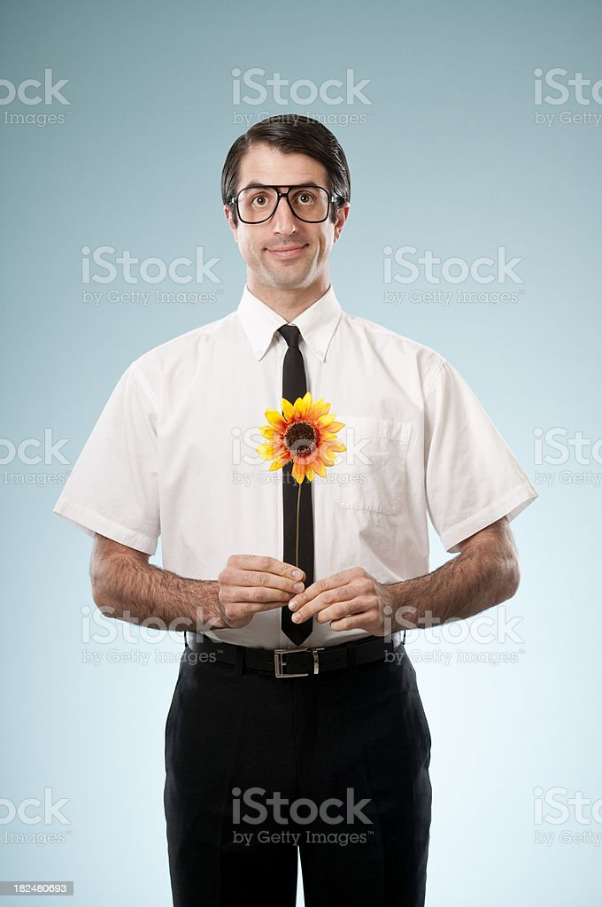 Shy Nerdy Office Worker With Sunflower stock photo