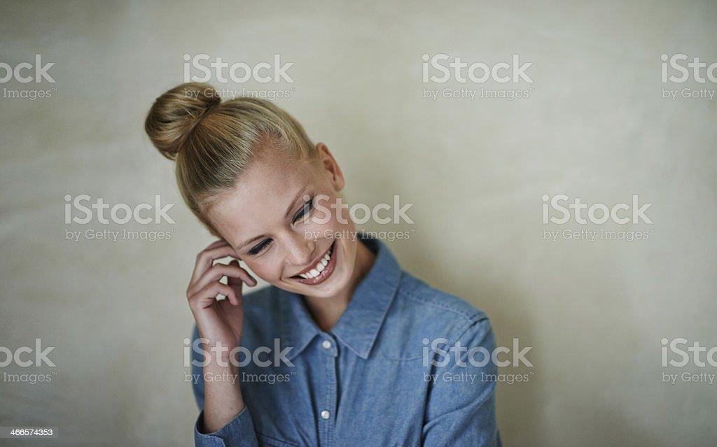 Shy smiles stock photo