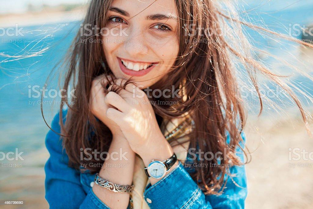 Shy teenage girl stock photo