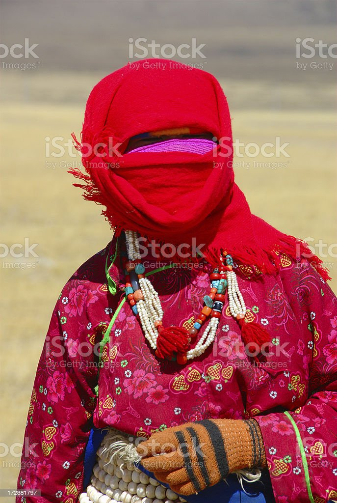 Shy Tibetan nomad girl stock photo