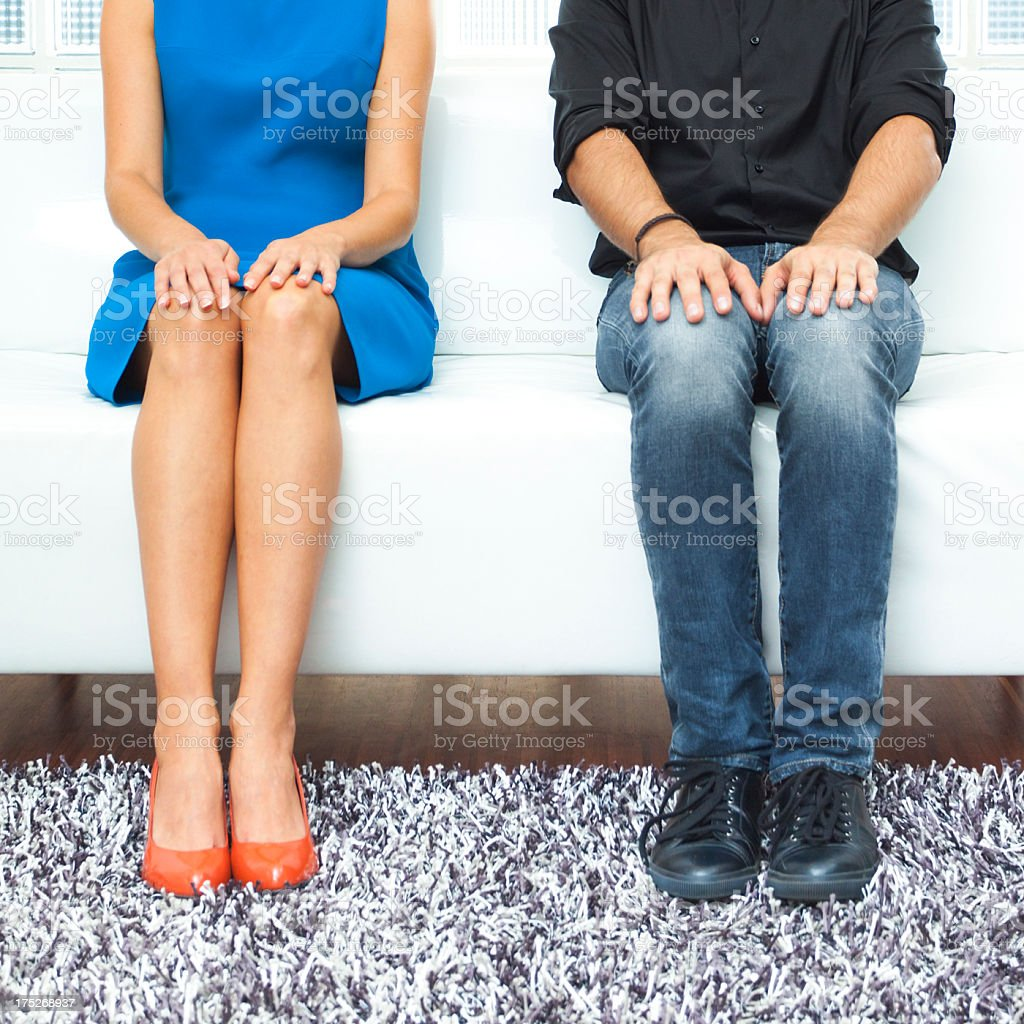 Shy woman and man stock photo