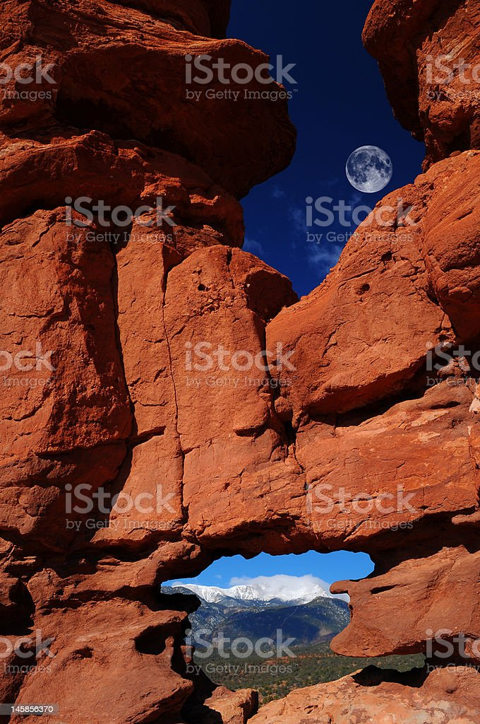 Siamese Twins Rock Formation at Garden of the Gods stock photo