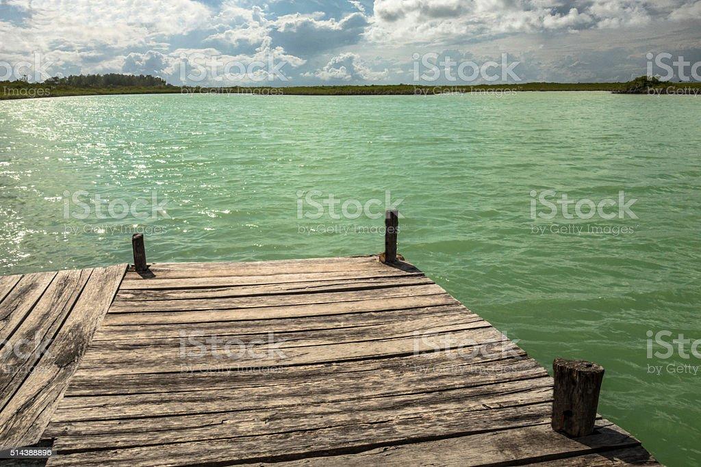 Sian Ka'an Lagoon dock stock photo