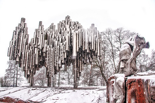 Helsinki, Finland - March 03, 2014: Sibelius monument