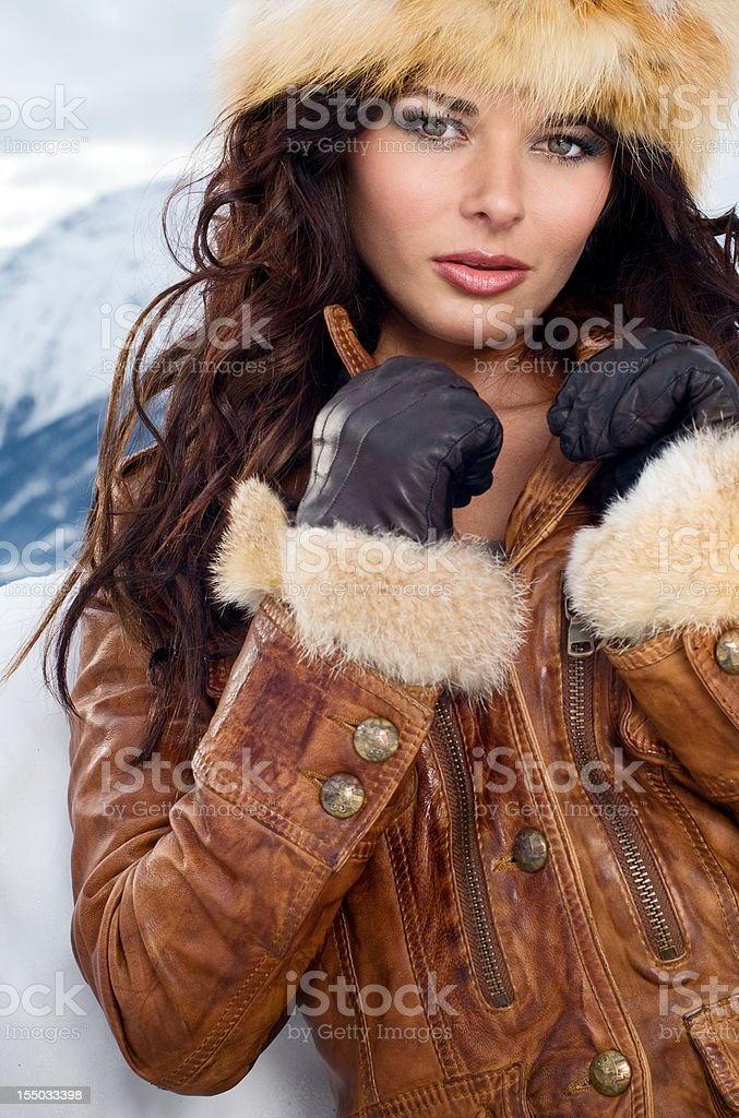 Siberian Beauty - Intense Winter Portrait stock photo