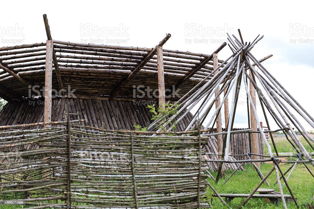 Siberian folk dwelling stock photo