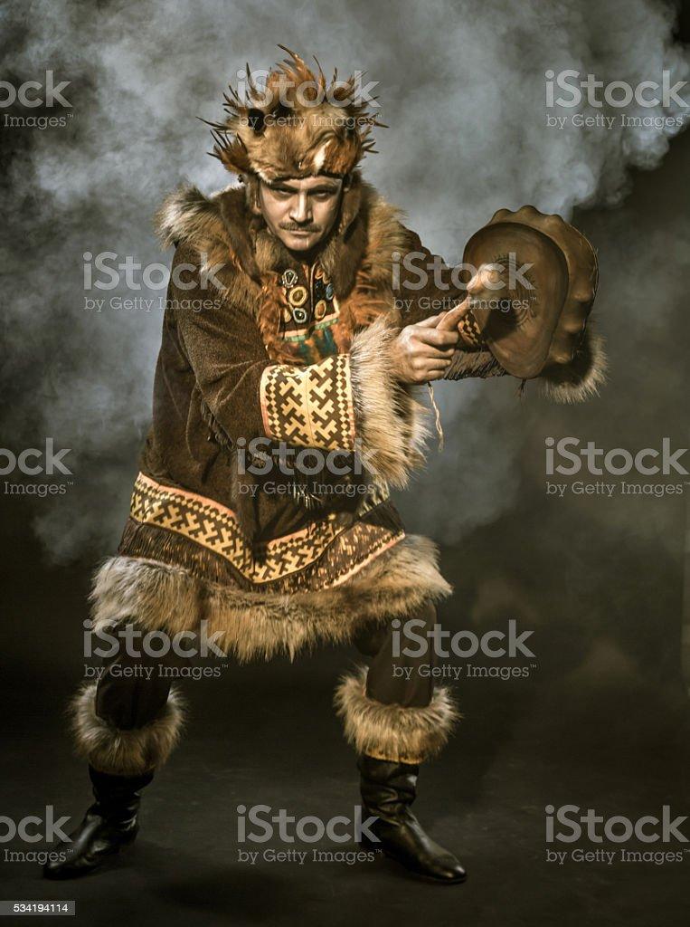 Siberian Shaman stock photo