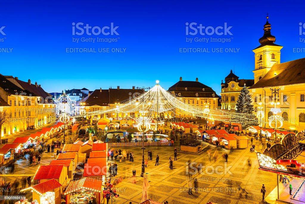 Sibiu Christmas Market, Romania stock photo