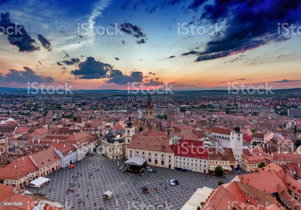 Sibiu Romania aerial view at sunset stock photo