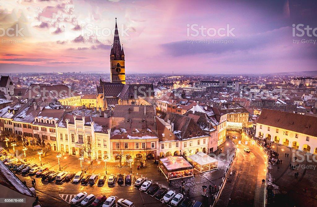 Sibiu, Transylvania, Romania central square at sunset. Hermannst stock photo