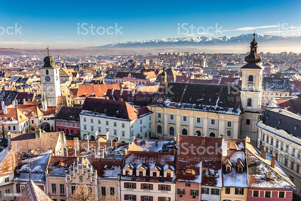 Sibiu, Transylvania, Romania. HDR photo. Panoramic view from abo stock photo