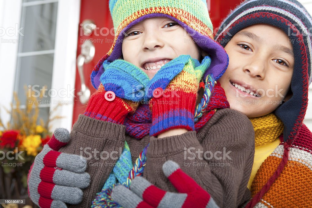 Sibling autumn portrait royalty-free stock photo