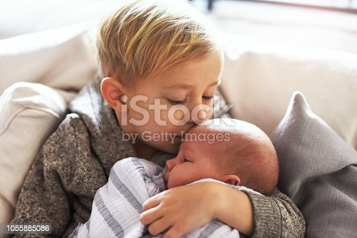 Shot of a cheerful little boy holding his little infant brother and giving him a kiss on the forehead while being seated on a sofa at home during the day