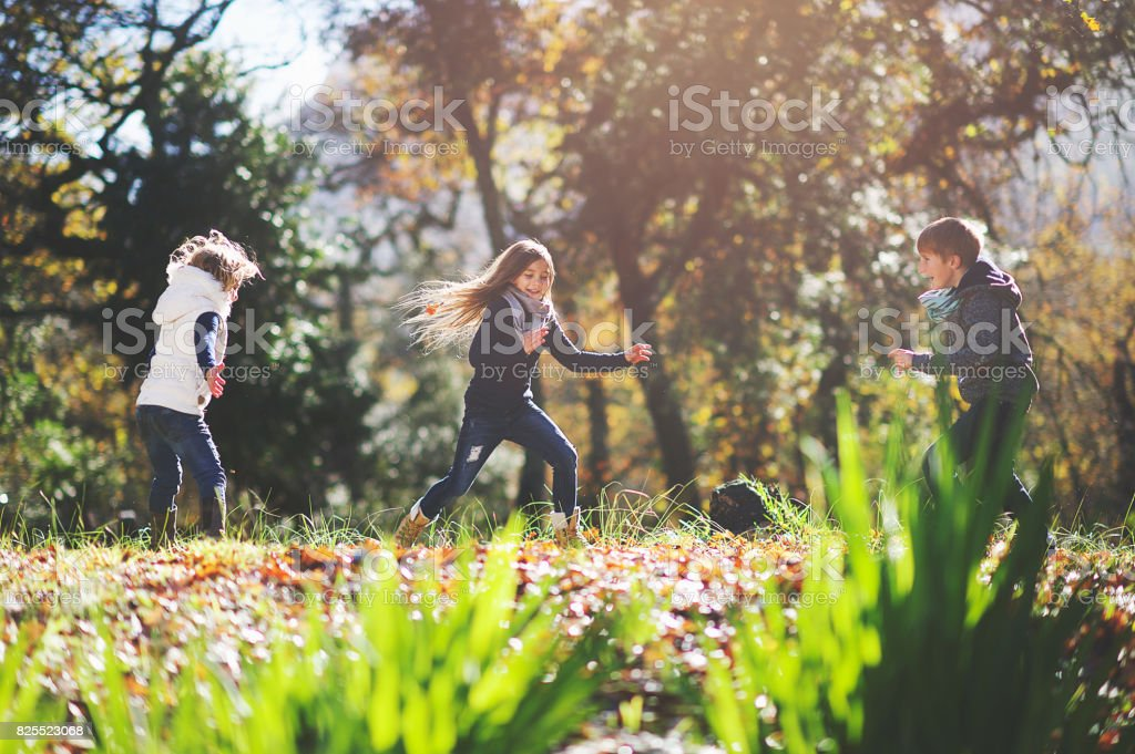 Sibling Tag Game Fun stock photo