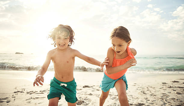 Siblings and summer fun stock photo