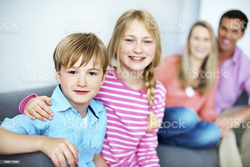 Siblings and the best of buds! royalty-free stock photo
