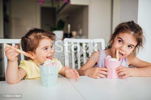 Girls eating sweet food at home